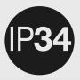 IP 34: ochrana (3) proti vniknutiu cudzích pevných predmetov ≥ 2,5 mm o;  (4) proti striekajúcej vode.