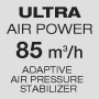 Ultra powerful air flow / Adaptive air pressure stabilizer