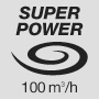Super powerful air flow 100 m3/h