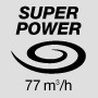 Super powerful air flow 77 m3/h